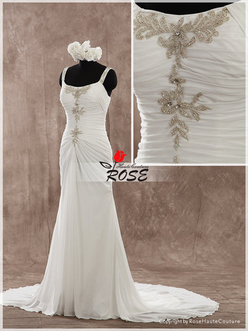 Trumpet Chiffon Wedding Dress Bridal Gown with Beaded Embroidery Zipper Back Style WD144 - LaRovias
