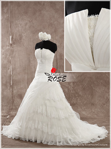 A Line Strapless Wedding Dress Organza Bridal Gown Lace Up Back Style WD147 - LaRovias