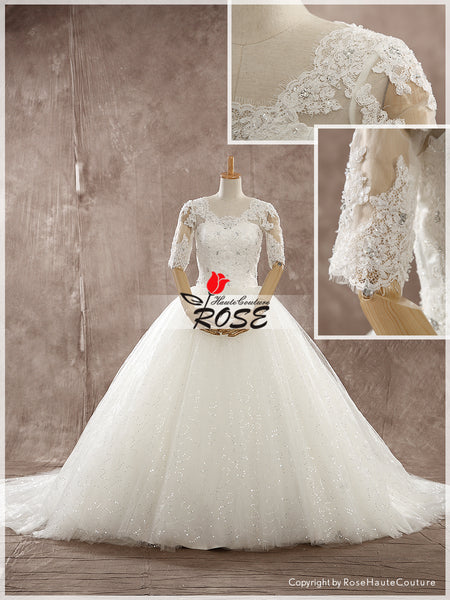 Lace and Glitter Tulle Ball Gown Wedding Dress Lace Up Back with Sleeves Style WD148 - LaRovias