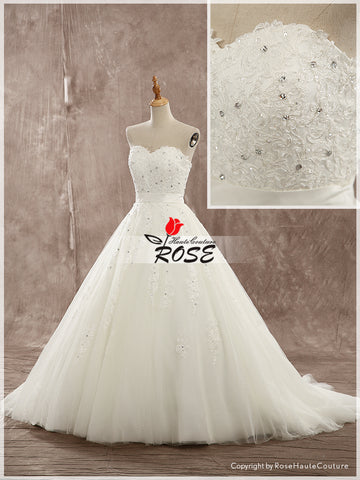 Strapless Ball Gown Wedding Dress Organza Skirt Applique Bodice Lace Up Back Style WD151 - LaRovias