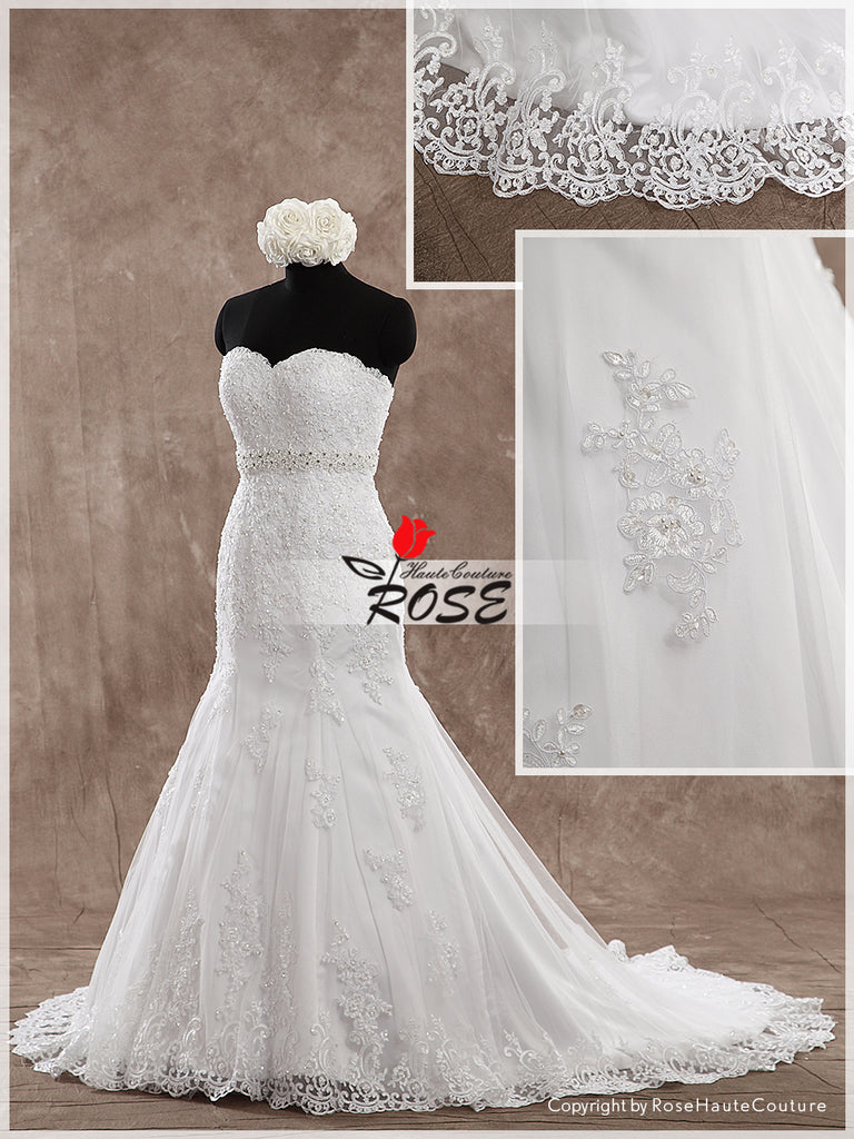 Mermaid Wedding Dress Sweetheart Neckline Bridal Gown Beads Sash Lace Up Back Style WD152 - LaRovias