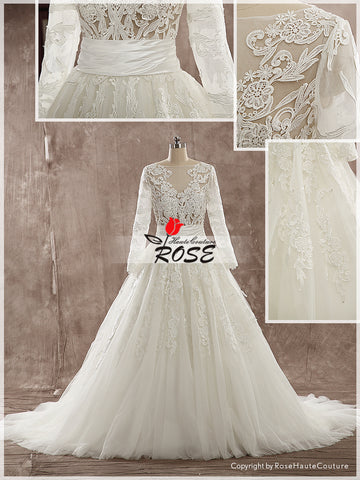 A Line Lace Wedding Dress Tiers Organza Skirt Zipper Back with Sleeves Style WD153 - LaRovias