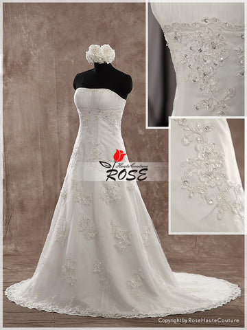 Strapless A Line Wedding Dress Applique Bridal Gown Lace Up Back Style WD154 - LaRovias