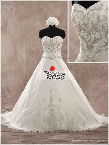 Sweetheart Neckline A Line Embroidery Wedding Dress Bridal Gown Lace Up Back Chapel Train Style WD156 - LaRovias