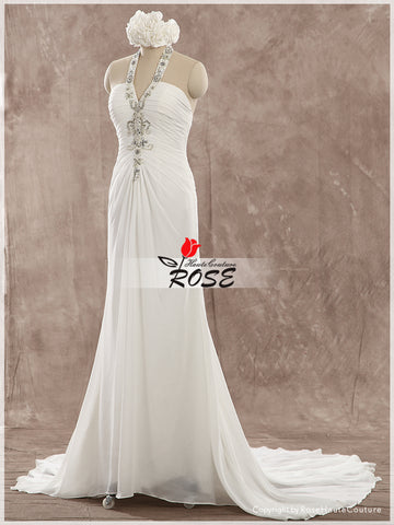 Trumpet Chiffon Wedding Dress Bridal Gown Beads Detail Lace Up Back Style WD159 - LaRovias