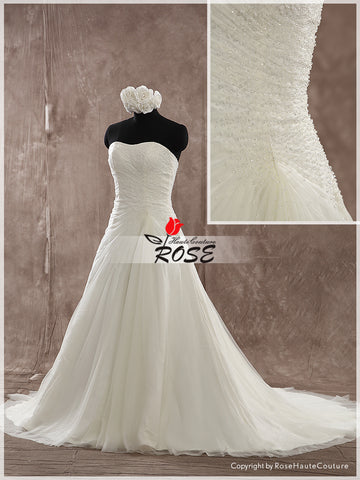 A Line Sweetheart Tulle Wedding Dresses Beads Detail Lace Up Back Style WD160 - LaRovias