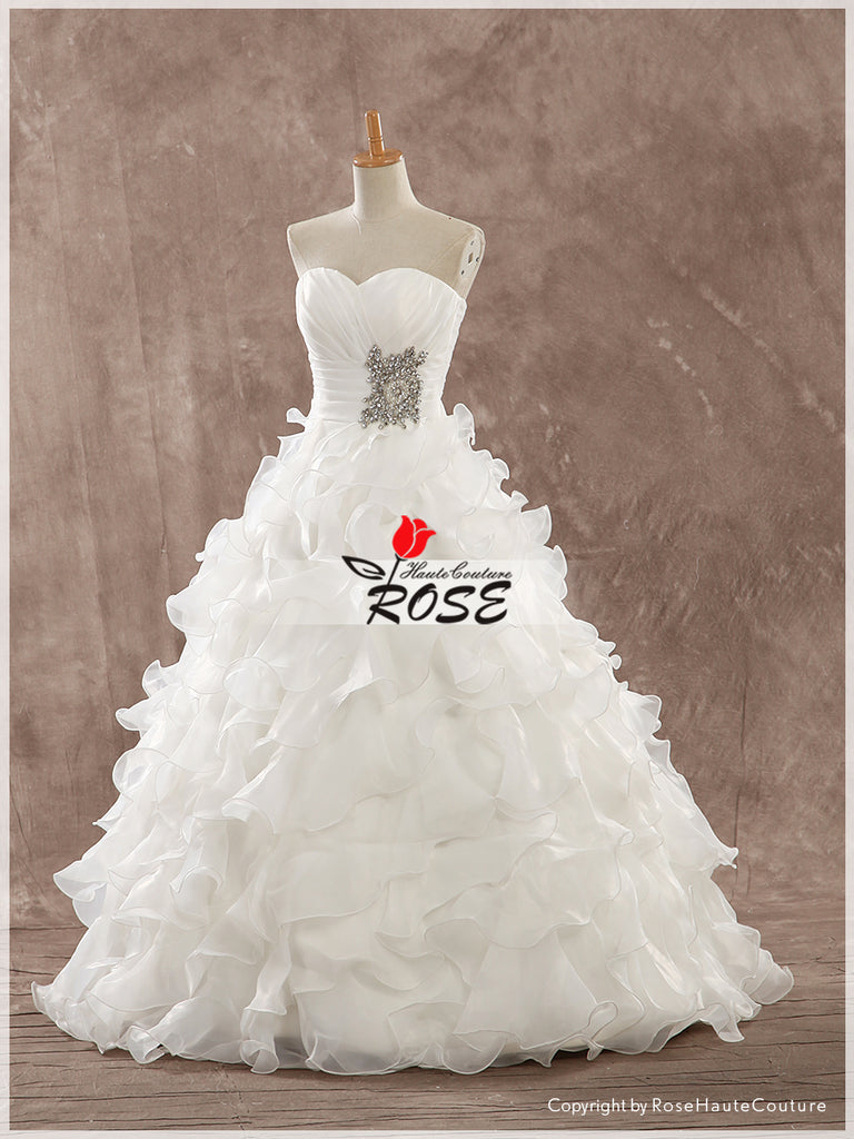 A Line Sweetheart Wedding Dresses Organza Ruffles Beads Detail Style WD163 - LaRovias