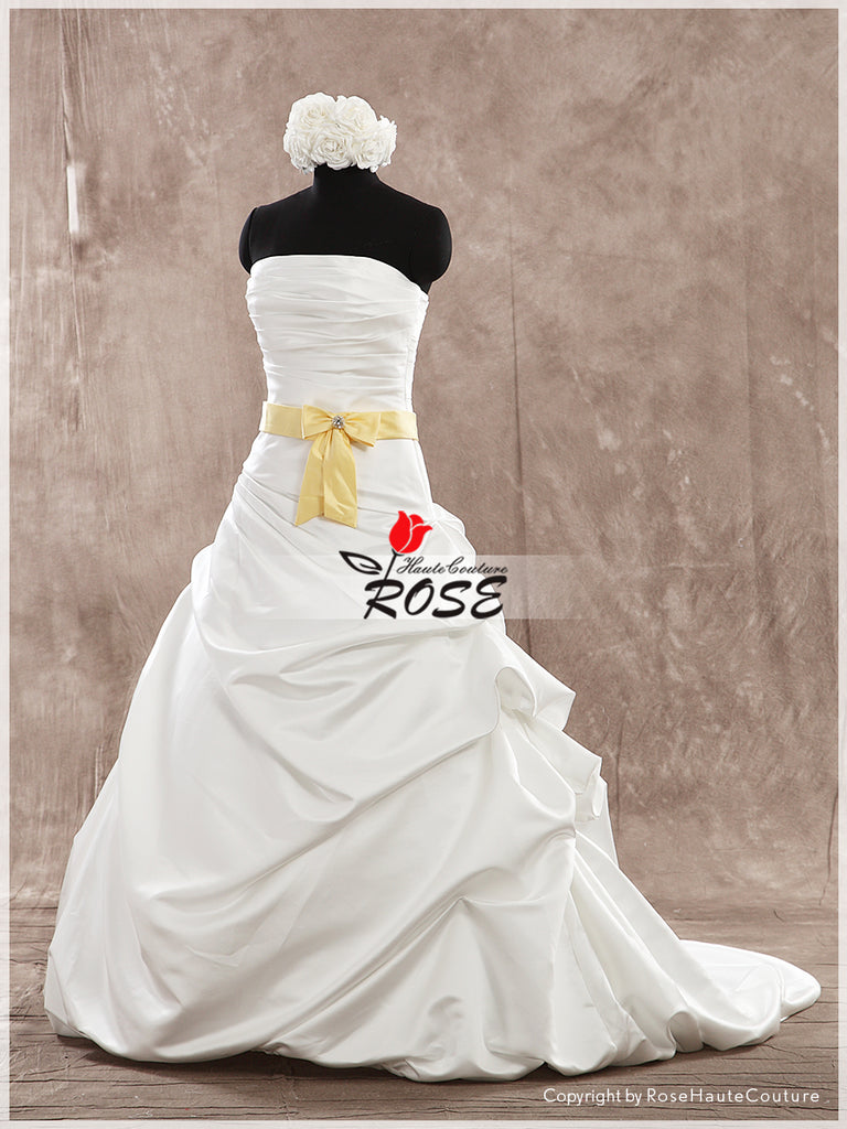 Strapless Satin A Line Wedding Dress Lace Up Back with Satin Belt Style WD172 - LaRovias