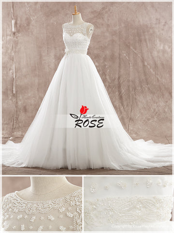 A Line Sweetheart Tulle Wedding Dresses Gorgerous Unique Beads Detail and Beads Belt Zipper Back Style WD175 - LaRovias