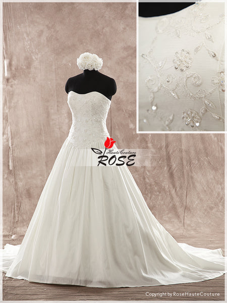Sweetheart Neckline Ball Gown Luxury Taffeta Wedding Dress Emobroidery Bodice Lace Up Back Style WD176 - LaRovias