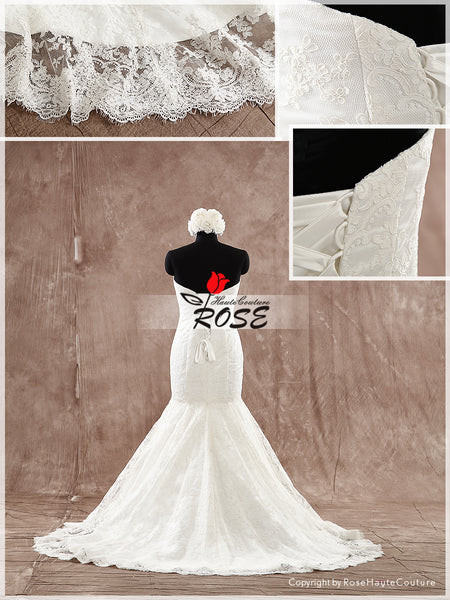 Strapless Sweetheart Mermaid Lace Wedding Dress Lace Up Back Style WD178 - LaRovias