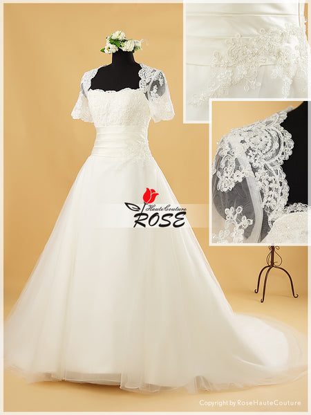 A Line Lace Wedding Dress Tulle and Organza Skirt Buttons Back with Sleeves Style WD179 - LaRovias