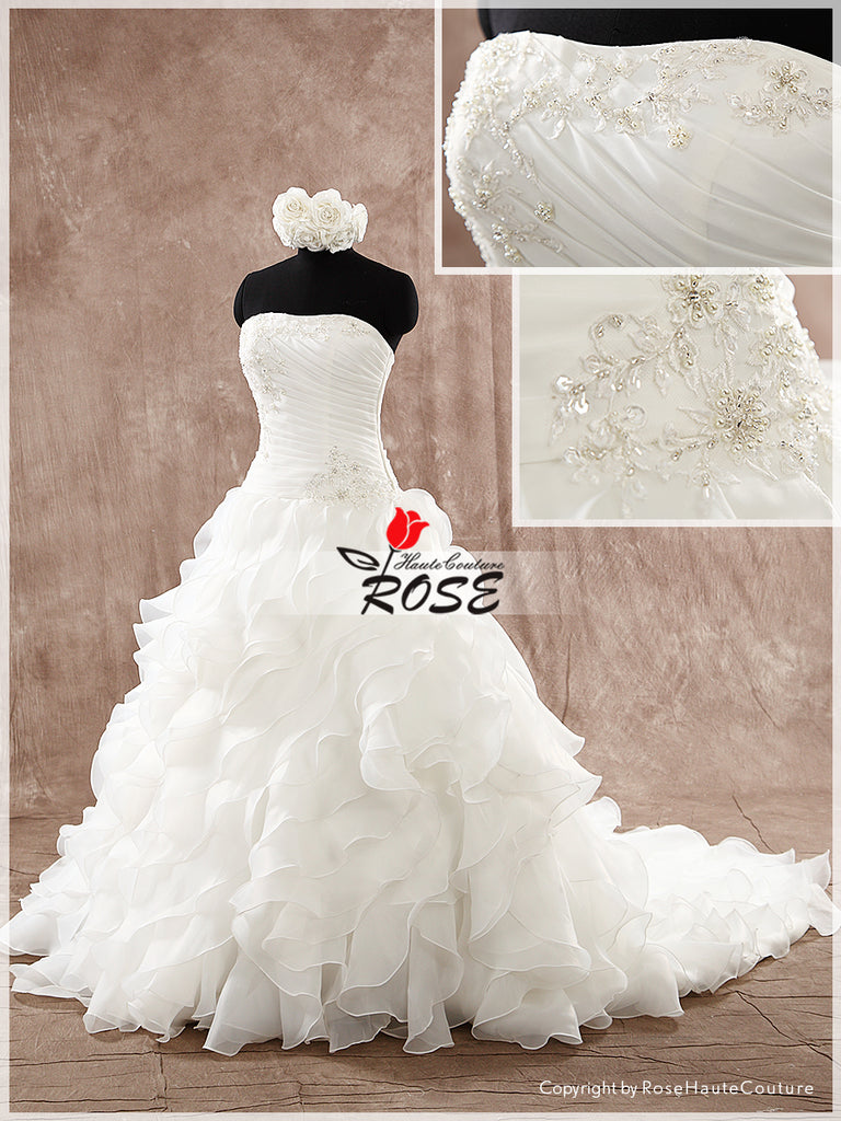 Strapless Organza Wedding Dress with Applique and Beautiful Beads Detail Style WD180 - LaRovias
