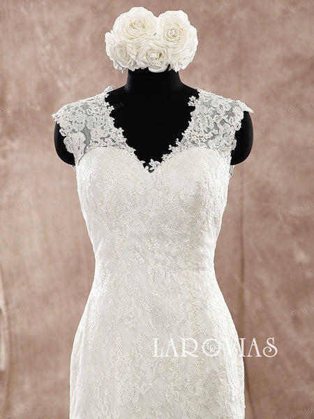 Strapless V Neckline Lace Mermaid Wedding Dress Illusion Buttons Back Style WD181 - LaRovias