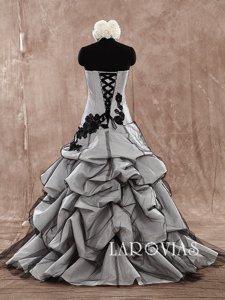 Black Wedding Dress with Ruffles skirt WD183 - LaRovias