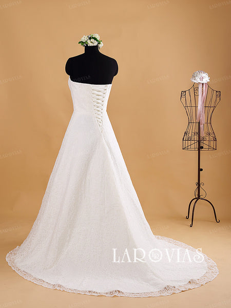 Sweetheart A Line Wedding Dress French Lace with Detachable Crystal Beaded Sash Style WD184 - LaRovias