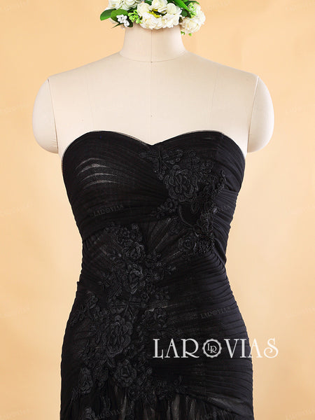 Black Wedding Dresses Sweetheart Neckline Bridal Gown WD185 - LaRovias