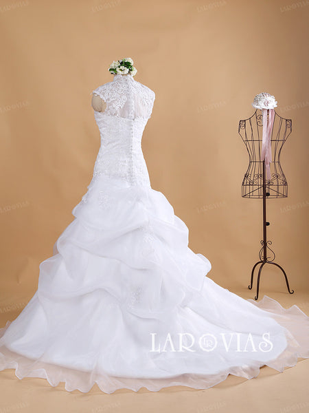 High Neckline Wedding Dress Organza Bride Gown WD186 - LaRovias