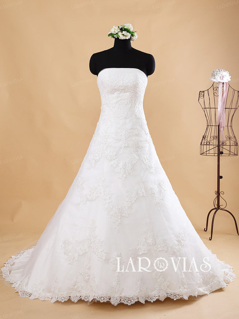 Strapless Tulle and Lace A Line Wedding dress French Lace Hem Detachable Satin Sash Style WD187 - LaRovias