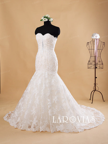 Strapless Mermaid Sweetheart Lace Wedding Dress Style WD189 - LaRovias