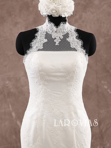 High Neck Fitted and Flared Wedding Dress Bridal Gown WD190 - LaRovias