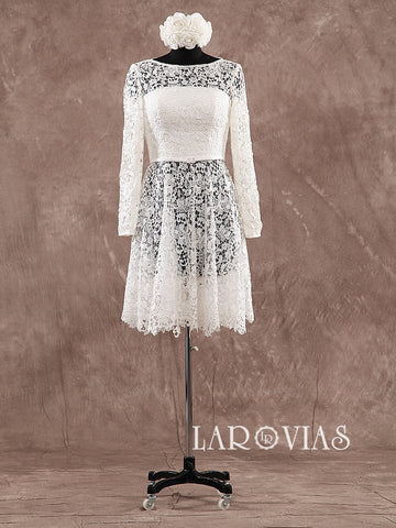 Short Lace Wedding Dress With Sleeves WD191 - LaRovias
