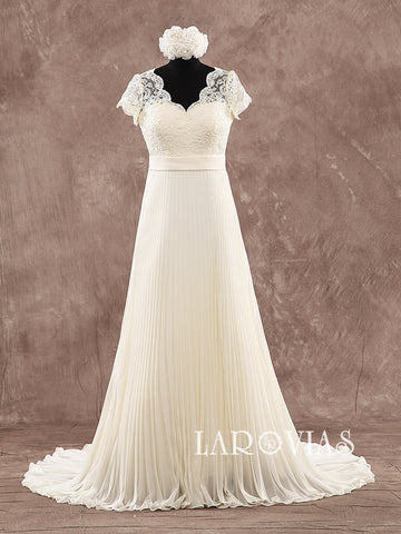 High Wait Wedding Dress With Short Sleeves Bridal Gown WD192 - LaRovias