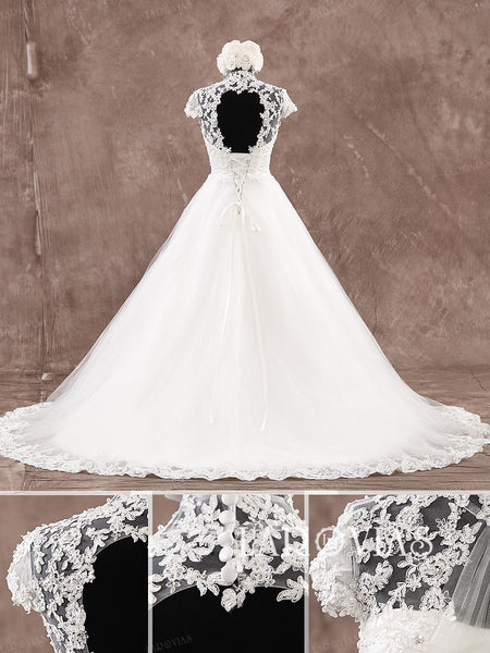 A Line Tulle and Lace Illusion Neckline Wedding Dress Lace Up Back Style WD193 - LaRovias