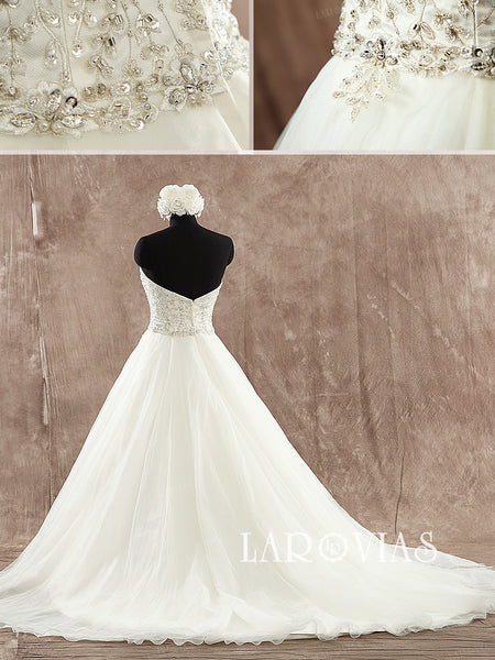 Strapless A Line Sweetheart Neckline Beaded Embroidery Ivory Wedding Dress Bridal Gown Tulle/Organza Skirt Style WD194 - LaRovias