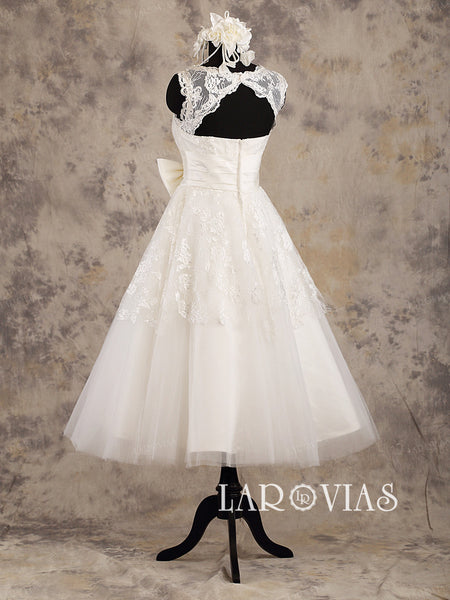 Ivory/White Tea Length A line Lace Wedding Dresses Tulle Skirt with Bowknot Satin Sash Style WD196 - LaRovias
