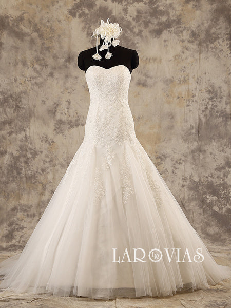 Sweetheart Mermaid Wedding Dress Tulle Skirt with Beaded Applique Style WD197 - LaRovias