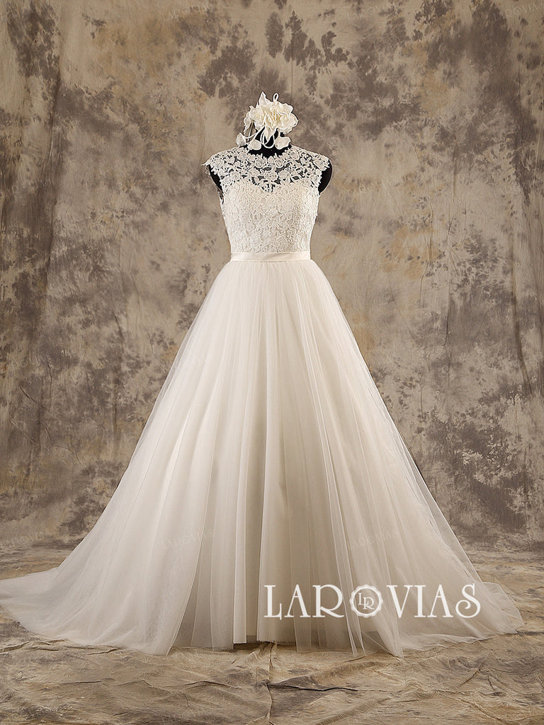 Ivory Lace Wedding Dress Satin Belt Tulle Skirt Deep V Back Chapel Train Style WD198 - LaRovias