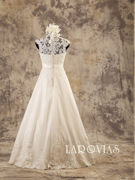 Ivory Lace Wedding Dress Satin Belt Dotted Tulle Skirt Floor Length Style WD199 - LaRovias