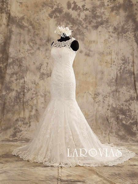 Ivory Wedding Dress Lace Mermaid Sleeveless Sweetheart Neckline with Button Over Zipper Back Style WD201 - LaRovias