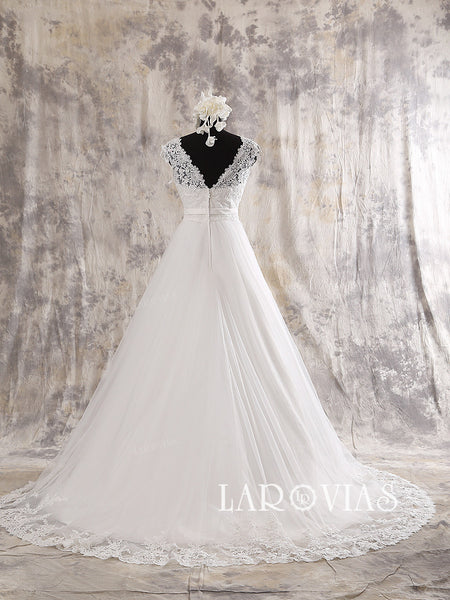 A Line Tulle and Lace White/Ivory Wedding Dress Zipper Back Chapel Train Style WD204 - LaRovias