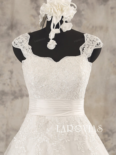 A Line Lace Wedding Dress Ivory Tulle Bridal Dress Ruched Waist Detail Style WD208 - LaRovias