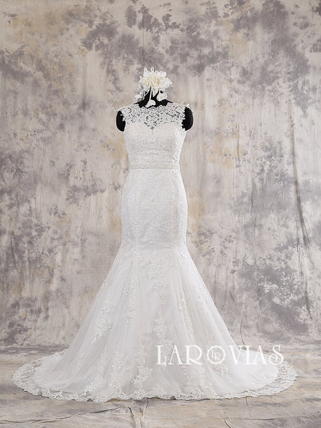 Mermaid Ivory Lace Wedding Dress Illusion Neckline V back Style WD209 - LaRovias