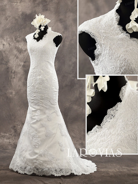 Lace Mermaid Sleeveless Scalloped Neckline Court Train Buttons Up Back Wedding Dress Style WD212 - LaRovias