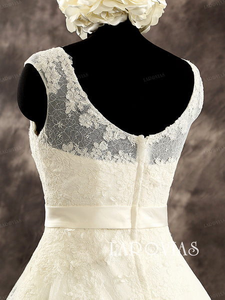 A Line Lace Scoop Neckline Chapel Train Wedding Dress with Satin Sash Zipper Up Back Bridal Dress Style WD214 - LaRovias