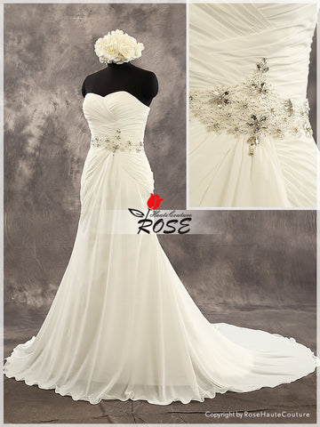 Trumpet Chiffon Sweetheart Wedding Dress Bridal Gown Beads Belt Lace Up Back Style WD174 - LaRovias