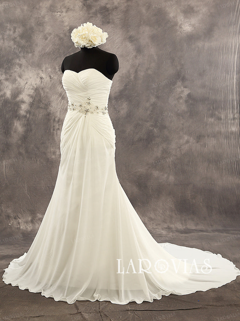 Simple Chiffon Beach Wedding Dress Lace Up Back Bride Dresses WD216 - LaRovias