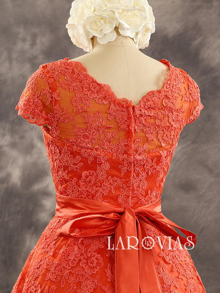 Short Lace Wedding Dress in Red WD217 - LaRovias