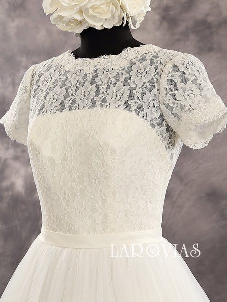 Ivory Short Sleeves Scoop Neckline Lace Bodice Tulle Skirt Deep V Back Wedding Dress Chapel Train Zipper Up Back Bridal Dress Style WD222 - LaRovias