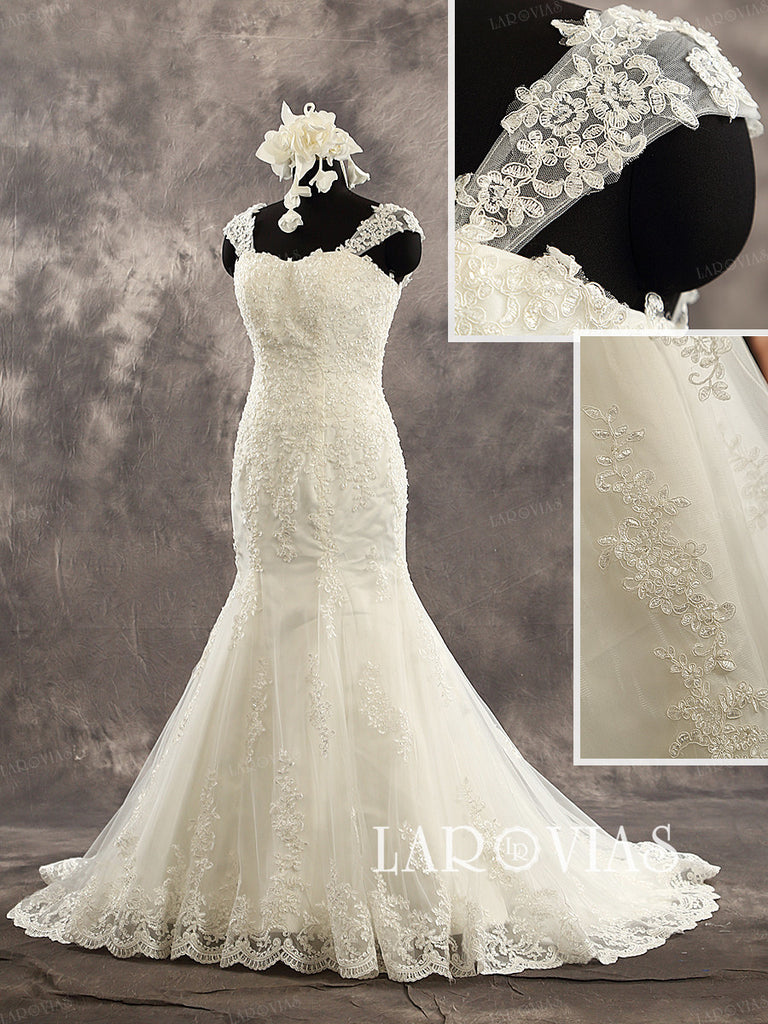 Mermaid Sleeveless Sweetheart Neckline Applique Skirt Lace Straps Lace Up Back Wedding Dress Chapel Train Bridal Gown Style WD223 - LaRovias