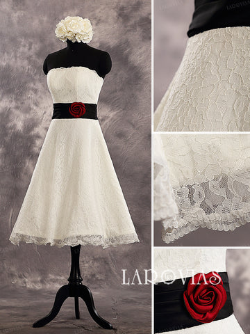 Knee Length A Line Lace Wedding Dresses Style WD225 - LaRovias