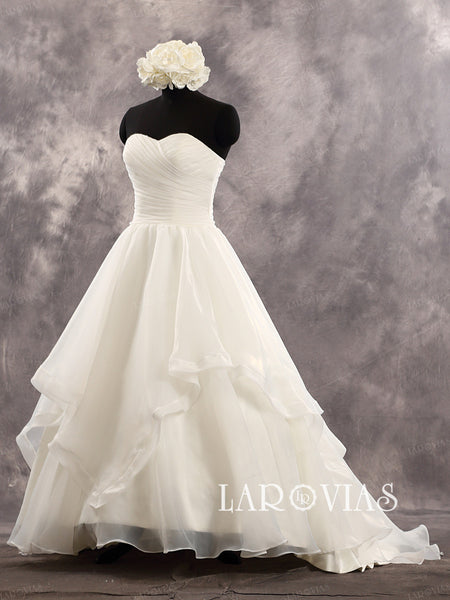 Organza Floor Length Tiered Skirt Sweetheart Neckline Wedding Dress Style WD229 - LaRovias