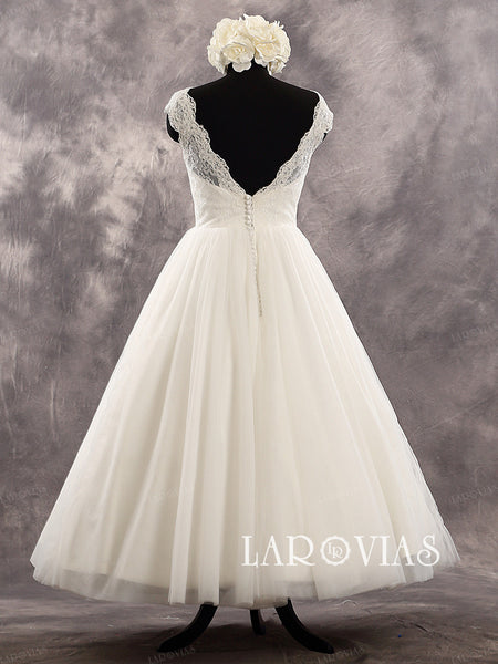 Ivory Tea Length Cap Sleeves Sweetheart Neckline Lace Bodice Tulle Skirt Wedding Dress Deep V Back Zipper Up Back Bridal Dress Style WD230 - LaRovias