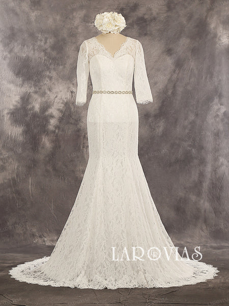 Lace Mermaid Sweetheart Beaded belt 3/4 Sleeves Buttons Up Back Chapel Train Wedding Dress Style WD233 - LaRovias