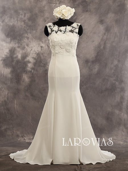 Mermaid Sleeveless Side Zipper Straight Neckline Court Train 3D Floral Applique Bodice Illusion Back And Skirt Wedding Dress Style WD234 - LaRovias