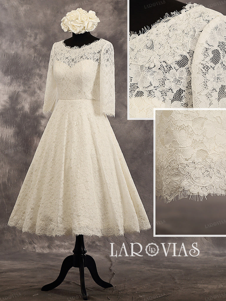 Vintage Style Tea Length Lace Sweetheart Long Sleeves Zipper Up Back Wedding Dress Style WD235 - LaRovias